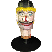 Antique Carnival Amusement Game Charlie's Hat Folk Art Carved Wooden Head With Skull Cap