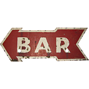 Vintage Ex Neon Tin Arrow Bar Sign