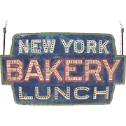 Antique Rare Punched And Sand Painted Tin New York City Bakery Restaurant Sign