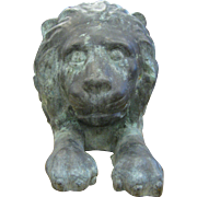 Antique Bronze Reposed Lion