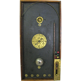 Antique Wooden and Brass Marble Game
