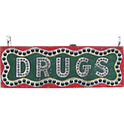 Antique Lighted Glass Jeweled Painted Tin Drugs Sign