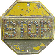 Vintage Reflector Stop Sign Unique Construction