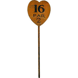Vintage Painted Iron Golf Pin Marker