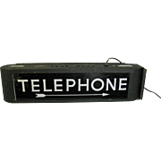 Vintage Lighted Telephone Sign Art Deco Style Case