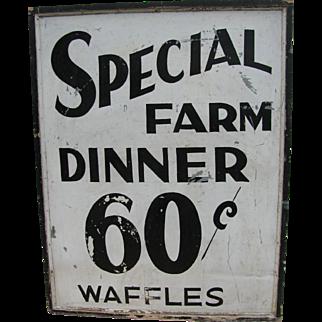 Vintage Farm Dinner Tin Sign