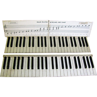Vintage Wooden Piano Practice Keyboard Diller 1930's