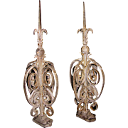 Antique Pair of Wrought Iron Gate Finials