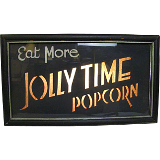 Vintage Lighted Jolly Time Popcorn Sign