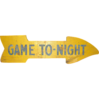 Vintage Painted Wooden Arrow Sign Baseball Field