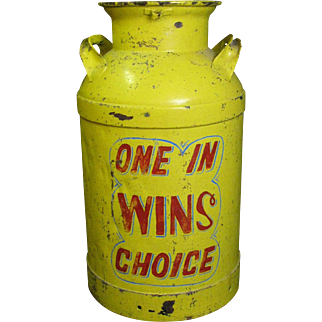 Vintage Painted Carnival Milk Can Toss Can