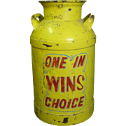Vintage Painted Metal Carnival Ball Toss Milk Can