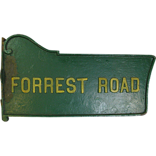 Vintage Painted Figural Cast Iron Forest Road Sign