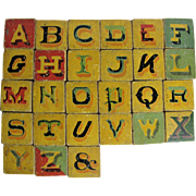 Antique Painted Folk Art Wooden Block Letters and Numbers