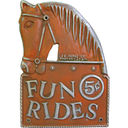 Vintage Amusement Carnival Pot Metal Rides Sign