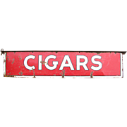 Vintage Porcelain Metal 2 Sided Cigars Sign