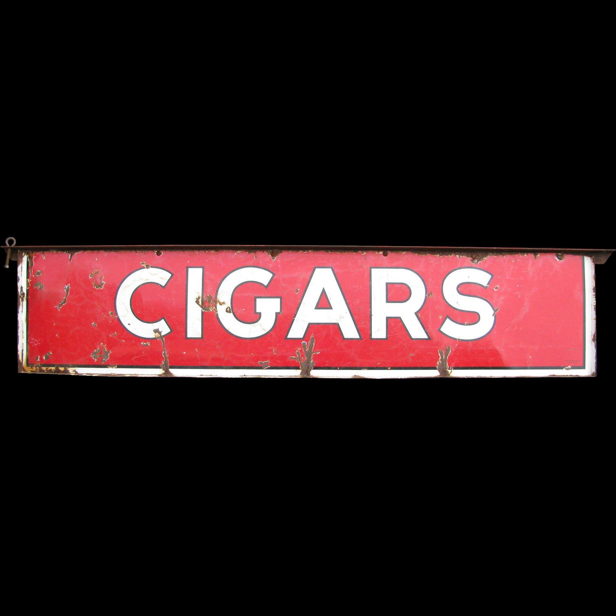 Vintage Porcelain Metal 2 Sided Cigars Sign