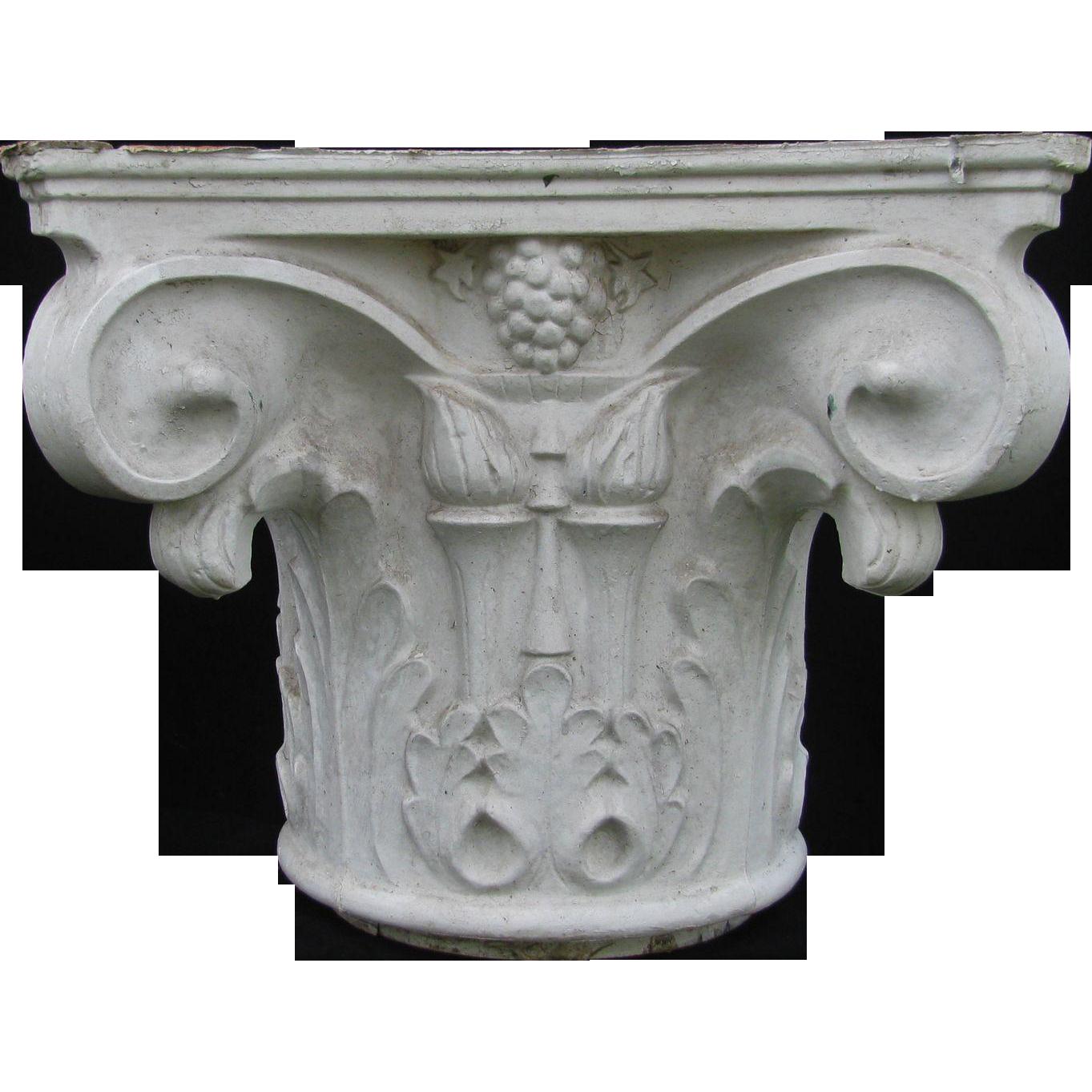 Antique Painted Cast Aluminum Column Capital