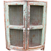 Antique Painted Rare Corner Hanging Pie Safe Cupboard
