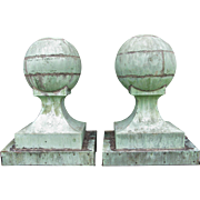 Antique Pair of Copper Ball Architectural Finials