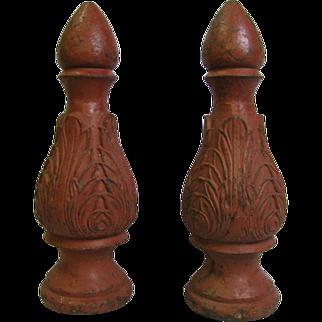 Antique Cast Iron Flower Bud Finials