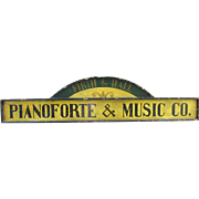 Vintage Music Piano Painted Wooden Trade Sign