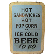 Vintage Stadium Food Beer Vendors Painted Two Sided Sign