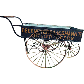 Antique Wooden Beer Delivery Cart Wagon