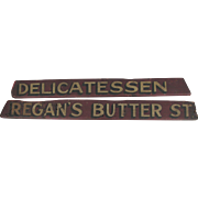 Antique Painted Wooden Delicatessen Sign Folk Art