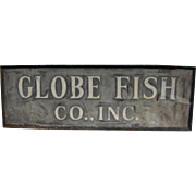 Vintage Painted Tin Globe Fish Sign Boston, Massachusetts