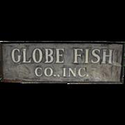 Vintage Painted Tin Globe Fish Sign Boston, Massachusetts