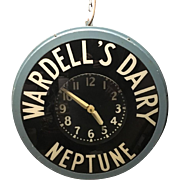 Vintage Advertising Neon Clock Wardell's Dairy Neptune New Jersey