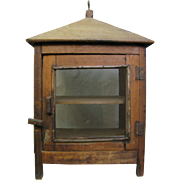 Antique Diminutive Wooden Hanging Picnic Safe or Pie Safe