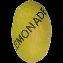 Vintage Paper Mache Large Lemon Lemonade Folk Art Trade Sign