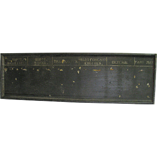 Antique Wooden Painted Pennsylvania Railroad Yard Master Sign