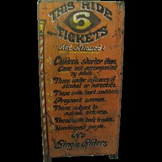 Vintage Myrtle Beach Boardwalk Amusement Ride Sign