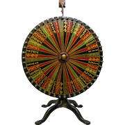 Antique Painted Table Top Carnival Game Wheel Of Chance