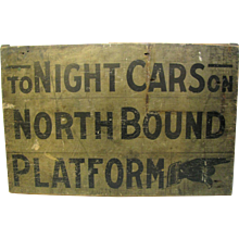 Antique Wooden Painted Train Platform Sign From Connecticut