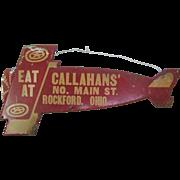 Vintage Pressed Tin Airplane Diner Sign