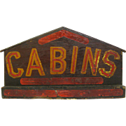Vintage Painted Wood Folk Art Cabins Sign Diminutive