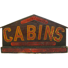 Vintage Painted Wood Folk Art Cabins Sign Diminutive