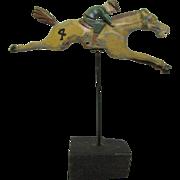 Vintage Folk Art Carved Wood Race Horse From H. C. Evans Horse Race Game