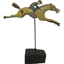 Vintage Folk Art Carved Wood Race Horse From H. C. Evans Horse Race Game