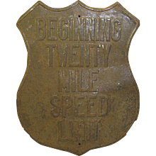 Vintage Pressed Tin Shield Speed Limit Sign