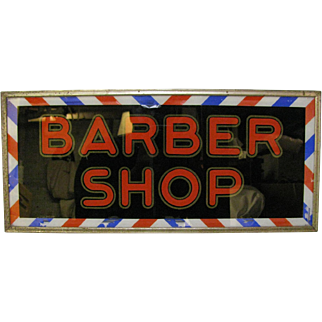 Vintage Reverse Glass Painted Lighted Barber Sign