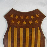 Vintage Inlaid Wooden Patriotic Shield Great Fraternal Americana