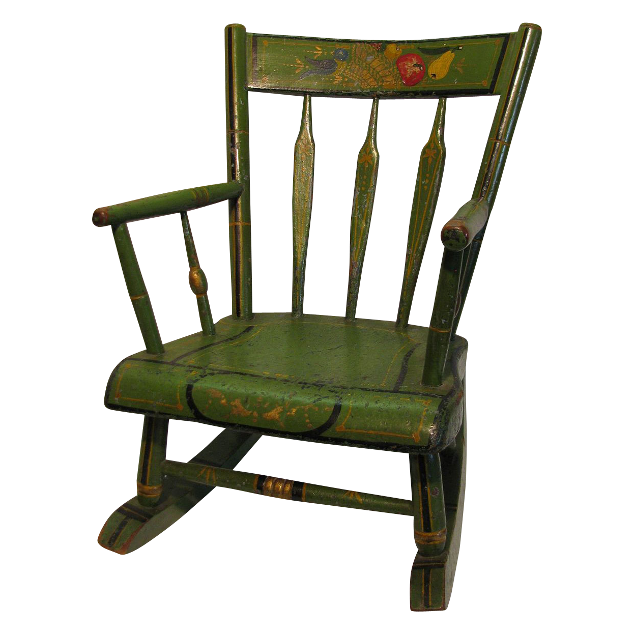 Antique Amish Green Folk Art Stenciled Childs Rocking Chair