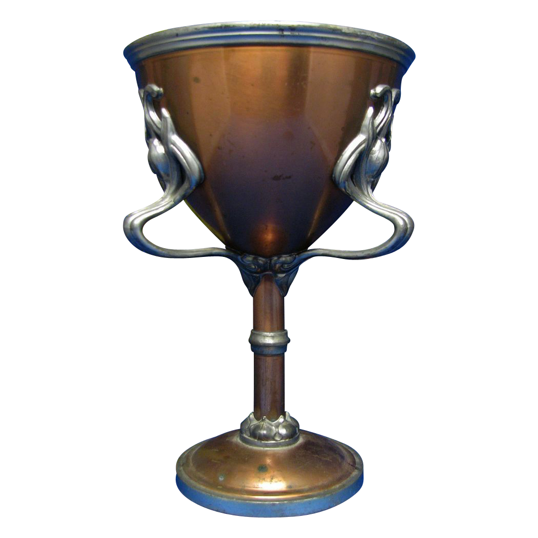 Vintage Copper Three Handled U0026quot Pokal U0026quot Cup Very Ornate