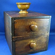 Antique wood ballot box Tiger Maple rare late 1800's with clay voting balls fraternal or golf Country Club