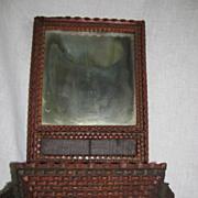 Vintage Tramp Art Folk Art painted candle mirror wall box